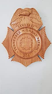 Custom Personalized Tennessee State Police Highway Patrol Badge - Personalized Badge 3D V Carved Wood Sign