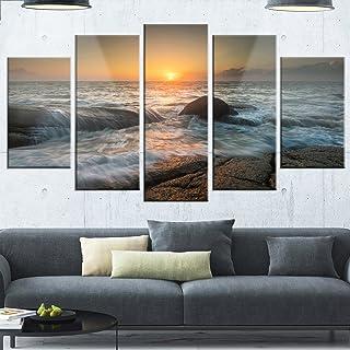 Design Art Lashing Sea Waves At Sunset-Beach Glossy Metal Wall Art, 60x32-5 Panels Diamond Shape, White