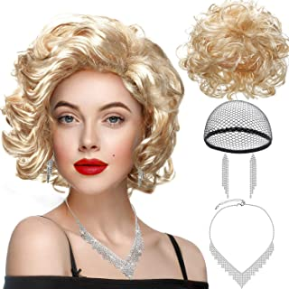 Marilyn Wig Short Curly Blonde Monroe Hair Wigs with Rhinestone Necklace Earrings Women Retro Party Cosplay Costume Set