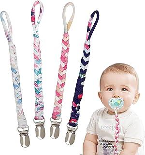 Fopspeenketting, katoen, fopspeenketting voor pasgeborenen, meisjes en jongens, slabbetje, driehoekige doek, zuiger, fopsp...