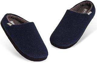 Dunlop Mens Slippers, Comfy Memory Foam Slippers for Men, Warm Faux Sheepskin Slippers Mens, Indoor Outdoor Anti Slip Hous...
