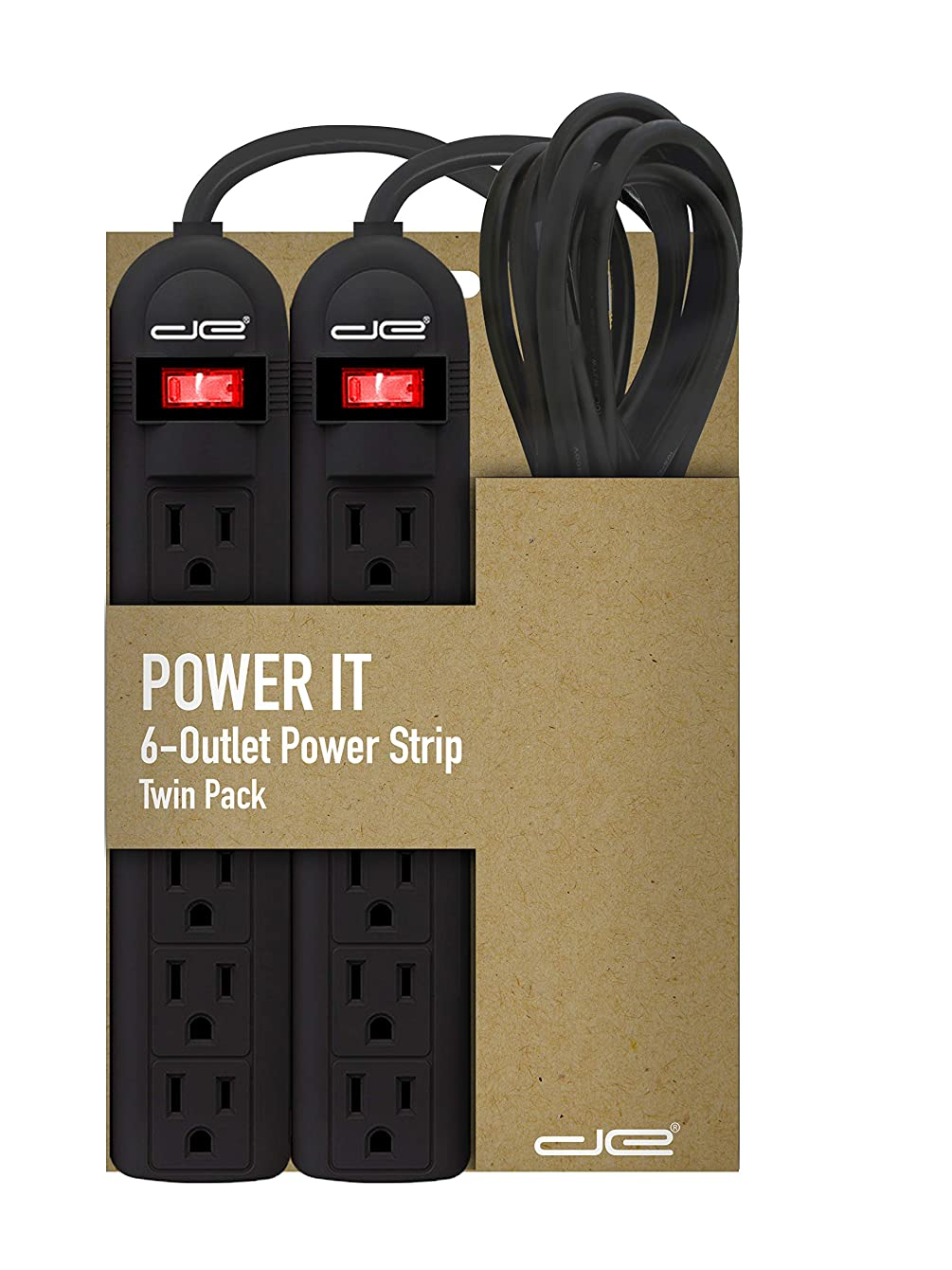 2-Pack 6 Outlet Power Strip with 3 Foot Extension Cord, Black