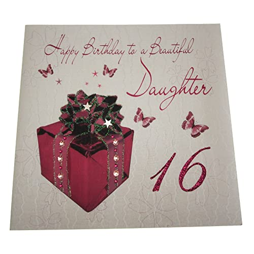 WHITE COTTON CARDS Code XLWB102 Happy Birthday To A Beautiful Daughter 16 Handmade Large 16th