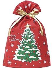 インディゴ クリスマス ラッピング袋 グリーティングバッグ3L クリスマスツリー レッド XG983