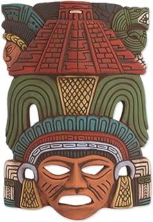 NOVICA Decorative Ceramic Cultural Mask, Multicolor 'Mayan Pyramid'