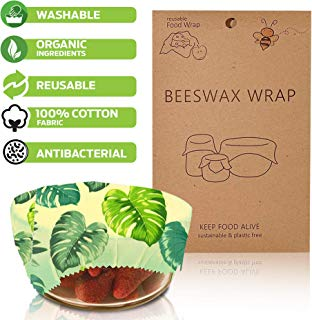 Beeswax Food Wrap Set for Snacks, Sandwich Wraps & Kitchen Items | 3 Pack | Reusable Food Wrap | Eco Friendly Wrapping Paper | Food Storage | Organic Wraps | Reusable Sandwich Bag | Cotton Food Wraps