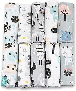 Pañales de gasa – 10 unidades 70 x 80 cm – Pañales de tela, fabricados en la UE, sin sustancias nocivas – paños para bebé para niños y niñas – pañales de gasa para bebé – gris – blanco