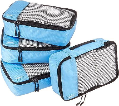 Amazon Basics Lot de 4sacoches de rangement pour bagage TailleS, Bleu Ciel