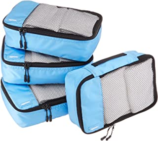 AmazonBasics 4 Piece Small Packing Travel Organizer Cubes Set - Sky Blue