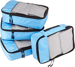 AmazonBasics 4 Piece Small Packing Travel Organizer Cubes Set - Sky Blue