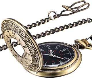 Hicarer Vintage Pocket Watch Steel Men Watch with Chain