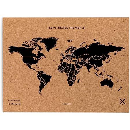 Cartina Geografica Per Segnare Luoghi Visitati.Miss Wood Map L Mappa Del Mondo Di Sughero 45 X 60 Cm Naturale Amazon It Casa E Cucina