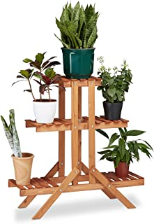 Relaxdays Soporte Plantas para Interior 3 Niveles, Madera,
