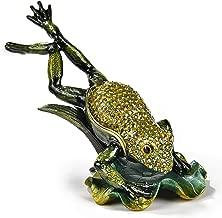 KALIFANO Decorative Frog Jewelry/Keepsake Box with Swarovski Element Crystals for Storage and Organization - Handmade Magnetic Trinket Box