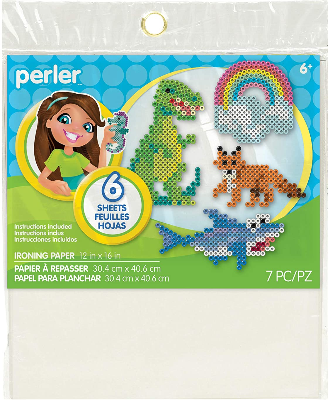 Perler Ironing Paper for Beads Crafts for Kids, 12'' x 16'', 7 Pieces