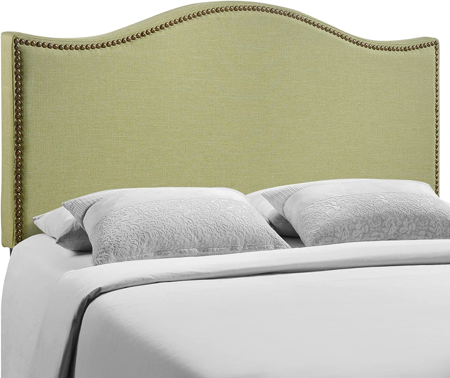 Modway Curl Queen Nailhead Upholstered Headboard in Green