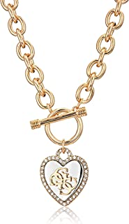 Womens Pave Framed Heart Toggle Necklace with 4 G Logo...