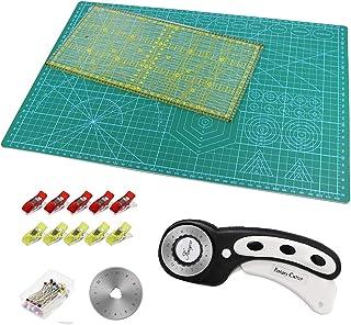 Tapis de Découpe A3 + Cutter Rotatif +Lame de Rechange + Règle Patchwork + Pince Plastique (10 Pièces) + épingles (40 Pièc...