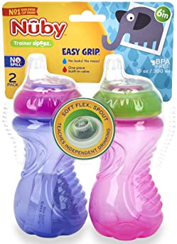 Nuby 2 Piece No Spill Easy Grip Trainer Cup 10 oz, Pink/Purple