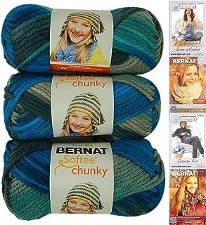 Bernat Softee Chunky Yarn Bundle Super Bulky No. 6, 3 Skeins, Deep Waters