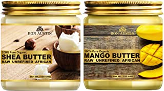 Bon Austin 100% Pure and Natural Shea Butter & Mango Butter - RAW, UNREFINED & AFRICAN- For Moisturization of Body and Ski...