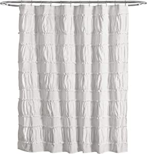 "Lush Decor, White Nova Ruffle Shower Curtain, 72"" x 72"""