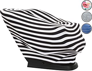 Baby Shine Premium Nursing Cover - Extra Soft, 6 in 1 Multi-Use Breastfeeding Cover for Baby Car Seat, Stroller, Scarf, and Shopping Cart (Black & White Stripes)