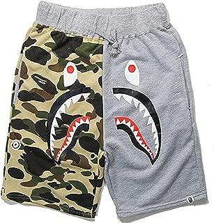 Shark Pattern Camouflage Stitching Shorts Men Drawstring Sports Shorts