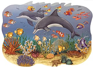 Borders Unlimited Ocean Seascape Mural Dolphins Self-Stick Wall Accent Set