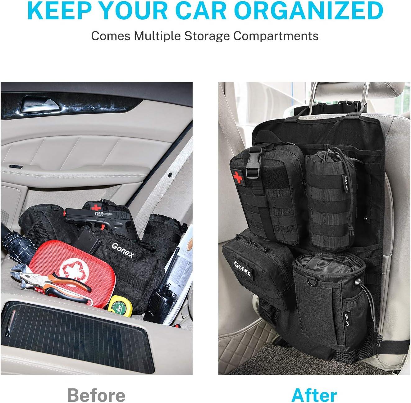 Gonex Organizador de asiento trasero con bolsa Molle bolsa de almacenamiento para panel t/áctico de veh/ículos