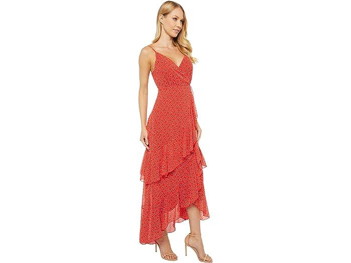 American Rose Ashlyn Spaghetti Strap Faux Wrap Dress With Ruffles Red Dresses