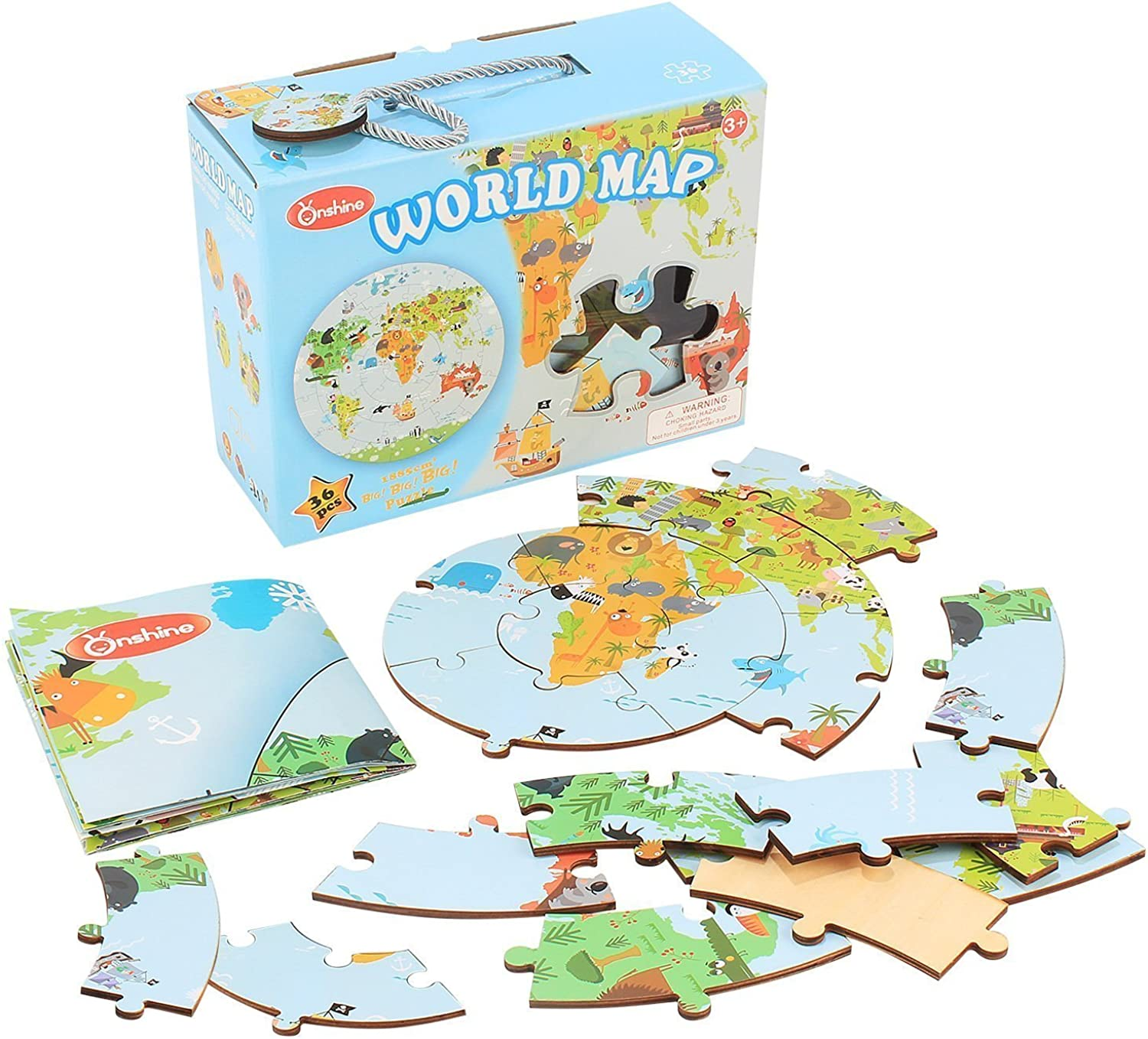 36 Pcs World Map Universe Wooden Puzzle Toy Educational Geography Floor Brick for Kids