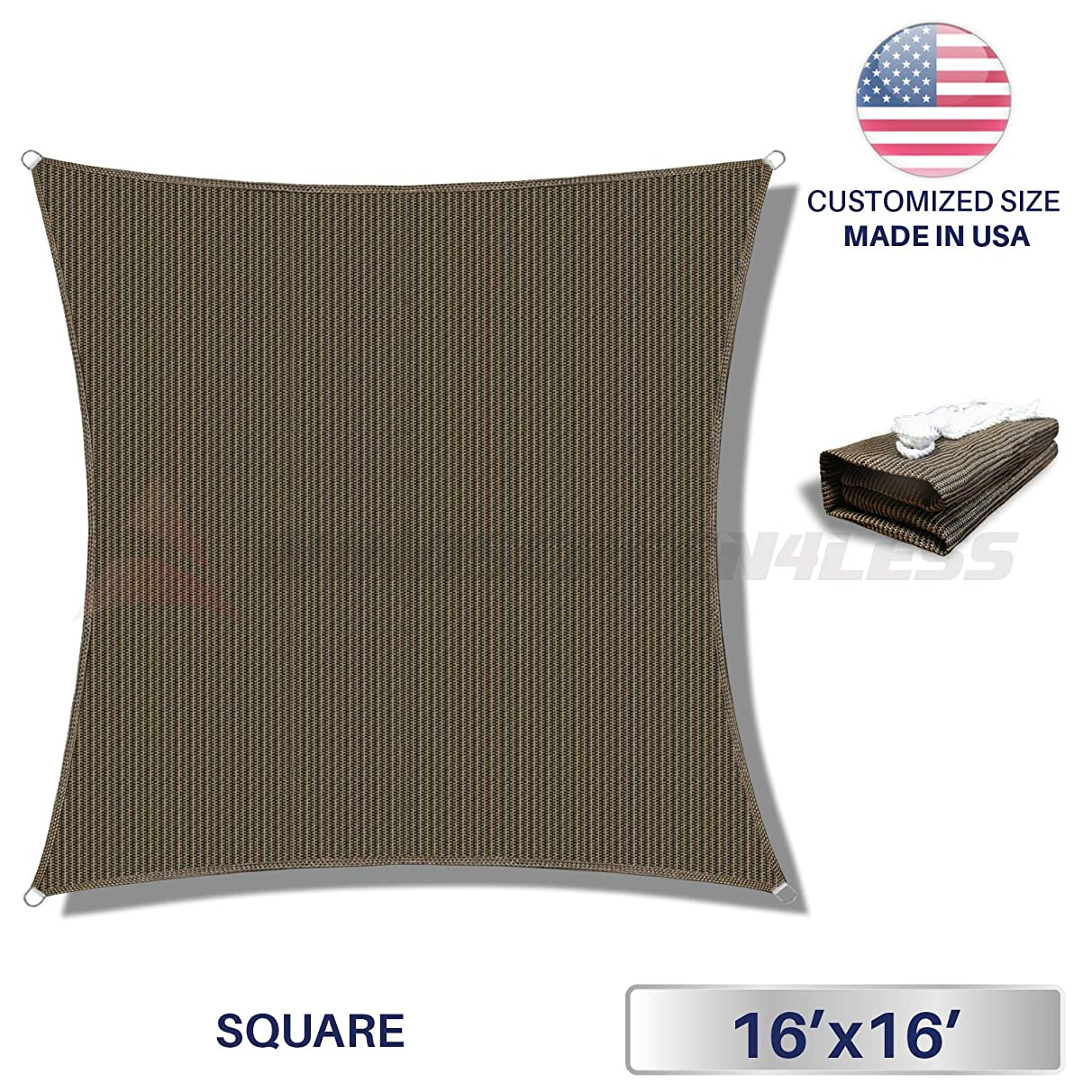 Windscreen4less 16ftx16ft Sun Shade Sail Square Canopy in Brown with Commercial Grade (3 Year Warranty) Customized, x 16