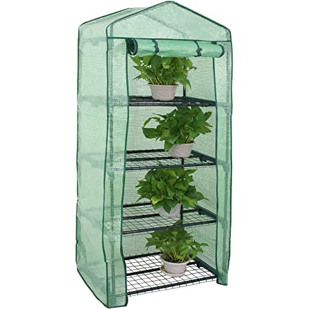 69 * 49 * 126CM Indoor outdoor tent garden greenhouse Xindian Mini Greenhouse Small Plant Greenhouses 4 Tier Rack Stands Portable Garden Green House With Transparent Plastic PVC Cover