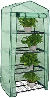 "BBBuy 4-Tier Mini Greenhouse Portable Garden Grow Plants Flower Seedings Green House w/PE Cover, Roll-Up Zipper Door and Metal Frame 27.25""(L) X 19""(W) x 63""(H)"