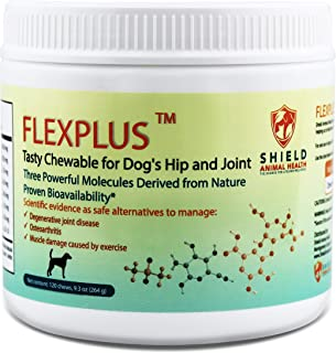 FLEXPLUS for Dog's Hip & Joint. Relieve Pain and Inflammation from Arthritis, Joint Disease, and Muscle Damage. Pharmaceutical Grade.Clinically Proven Absorption.120 Chews. Chicken Flavor. Made in USA
