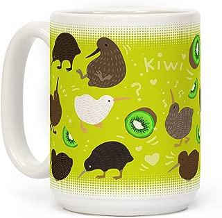 LookHUMAN Kiwi Bird Pattern White 15 Ounce Ceramic Coffee Mug