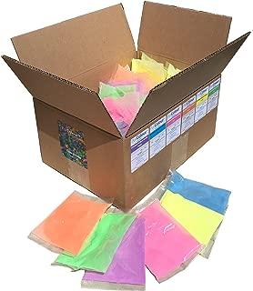 Holi Color Powder | Celebration Powder | Neon/Afterdark Multi Color | Case 100 x (75 gram) bags | Orange, Green, Purple, Pink, Yellow and Blue