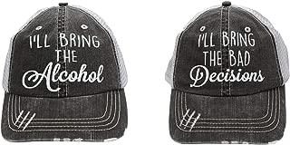 I'll Bring The alochol and Bad Decisions (Set of 2pcs) Women's Trucker Hats Cap Black/Grey