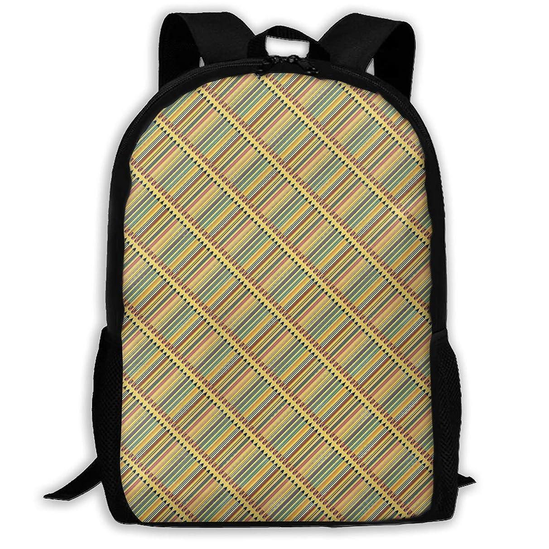 TAOHJS106 Diagonal Colored Pencils Pattern Waterproof Adult Backpack Shoulder Bag for Women and Men Premium Durable Rucksack Bookbag Best for Athletic, Hiking, Travel, Camping and Outdoor Daypack