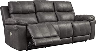 Signature Design by Ashley - Erlangen Contemporary Power Reclining Sofa with Adjustable Headrest, Gray