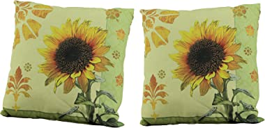 Things2Die4 Climaweave Accent Throw Pillows Sunflower Garden Indoor Outdoor Cushion Set of 2