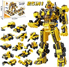 25-in-1 STEM Building Toys for Kids - Creative Brick Kits for a Big Robot or 12 Small Trucks, Best Gifts for Age 6 7 8 9 10 + Year Old Boys & Girls, 573 Pieces Construction Blocks & Separator