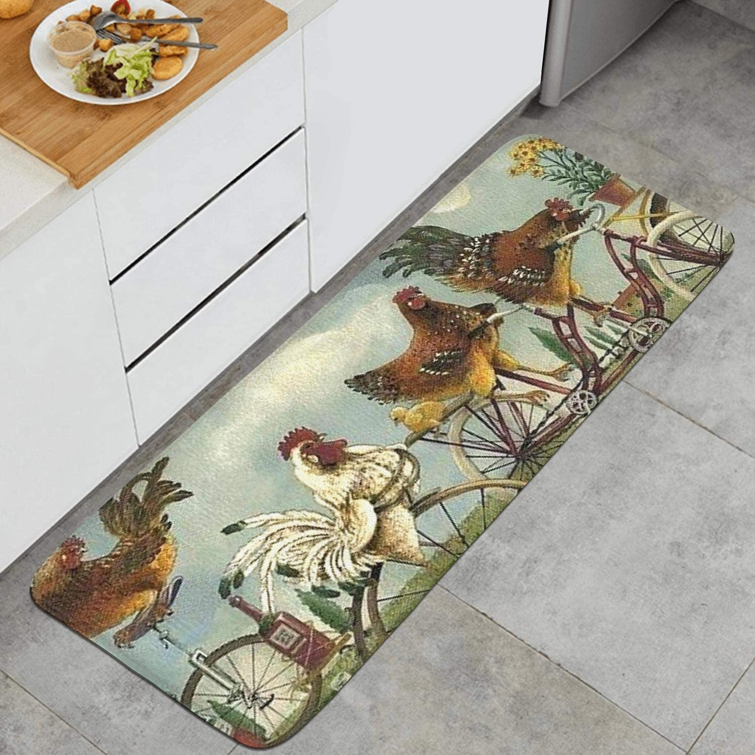 Amazon Com Sunflower And Rooster Kitchen Mat Chic Floormat Non Slip Rug Dining