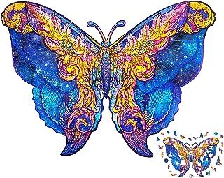 Puzzle en Bois 116 Pièces, Puzzles d'animaux Colorés de Forme Unique (Papillon), Idéal pour la Collection de Jeu de Famill...