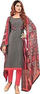Rajnandini Women's Grey Cotton Slub Embroidered Unstitched Salwar Suit Material