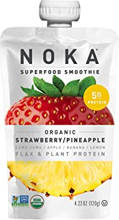 NOKA Superfood Pouches (Strawberry Pineapple) 6 Pack | 100% Organic Fruit And Veggie Smoothie Squeeze Packs | Non GMO, Glu...