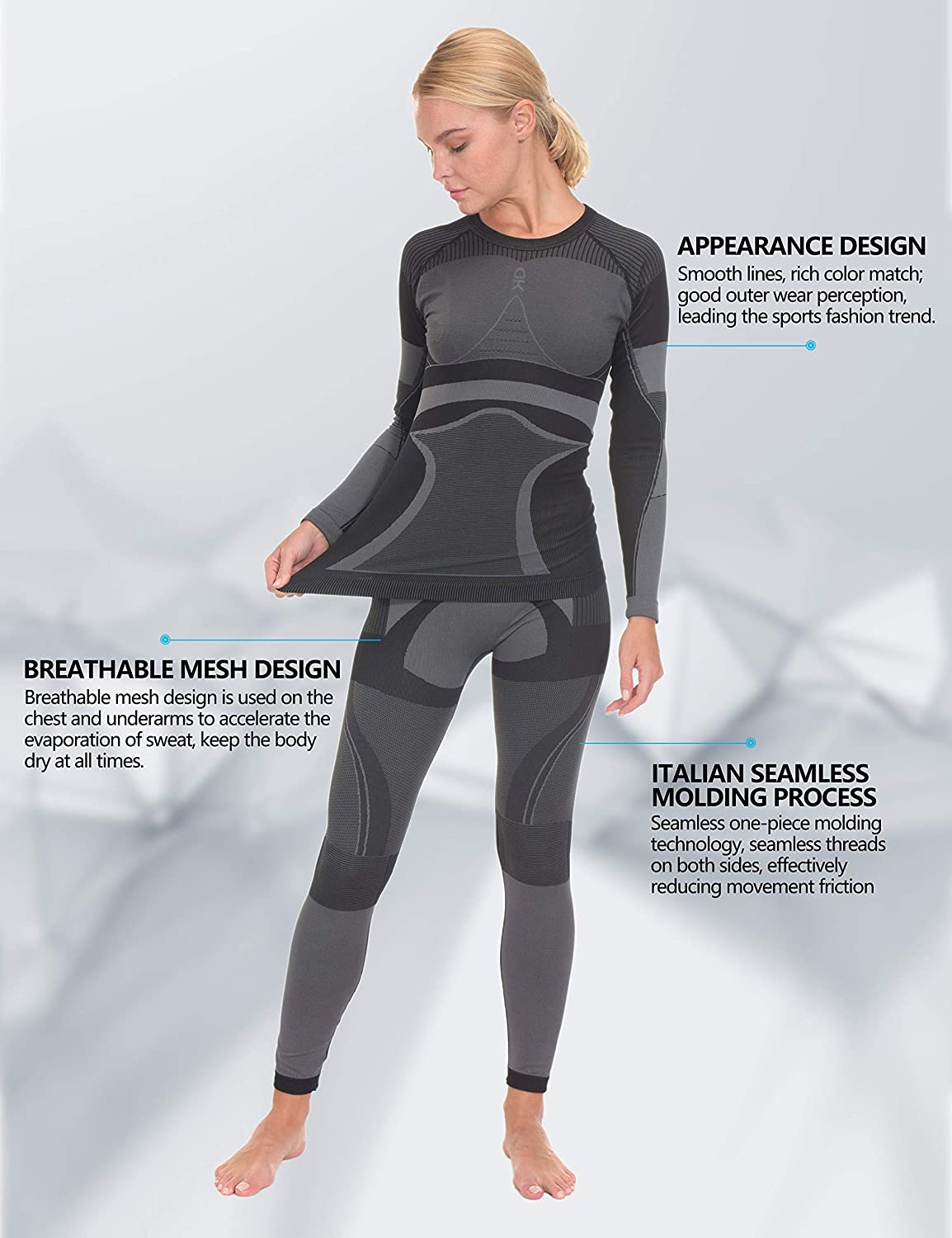 Little Donkey Andy Women's Soft Thermal Underwear Long Johns Set, Winter Warm Knit Compression Baselayer Skiing Top & Bottom