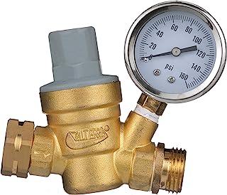 Valterra Water Regulator, Lead-Free Brass Adjustable Water Regulator with Pressure Gauge for Camper, Trailer, RV Plumbing System