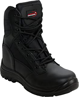 A&H Footwear Mens Arma Black Lace up/Zip up Genuine Leather Military Combat Waterproof Safety Steel Toe Cap Boots UK Sizes...
